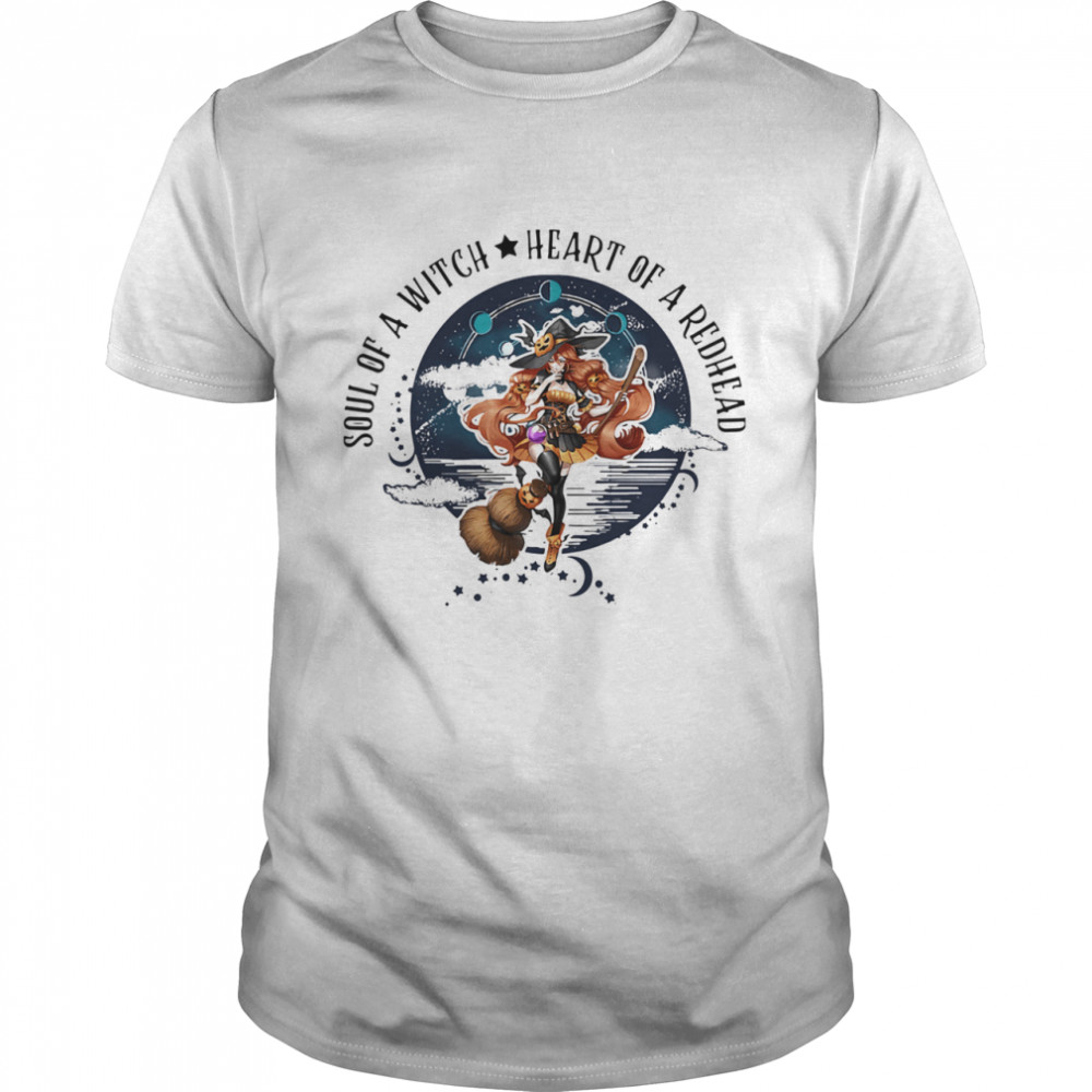 Soul Of A Witch Heart Of A Redhead Halloween Shirt