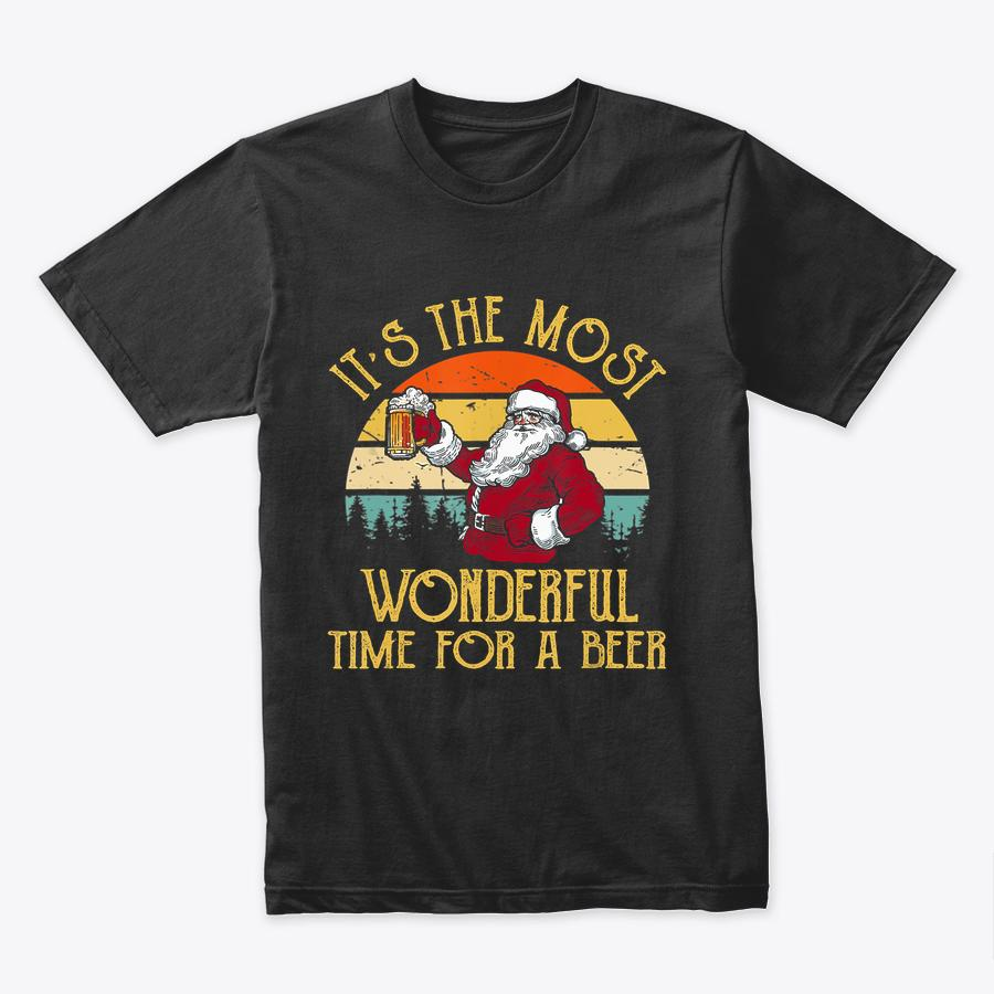 Vintage Santa Claus It's The Most Wonderful Time For A Beer T-Shirt